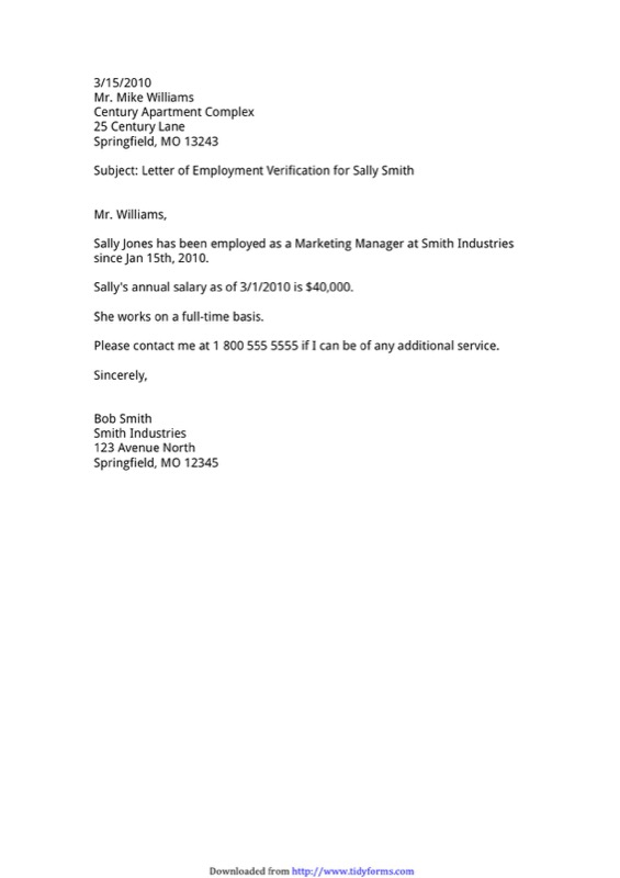 Sample Employment Verification Letter Templates  Free Templates In