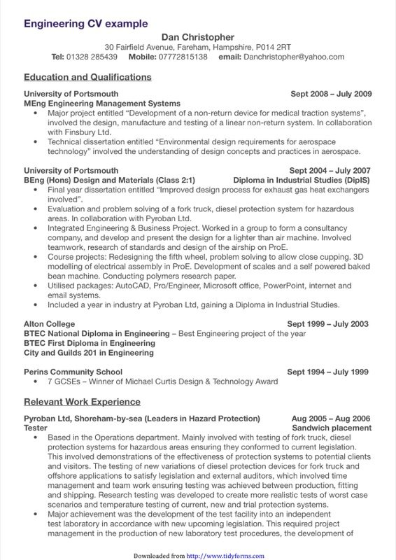 Engineering Cv Template  Free Templates In Doc Ppt Pdf  Xls