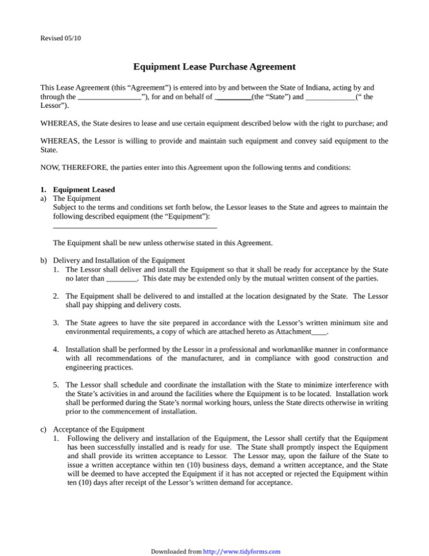Equipment Lease Agreement Templates  Free Templates In Doc Ppt