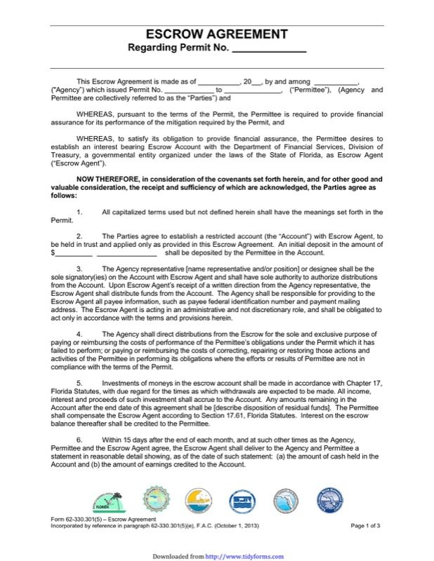 Escrow Agreement Templates  Free Templates In Doc Ppt Pdf  Xls