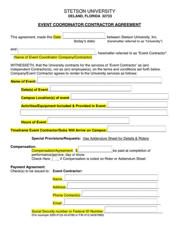 Event Contract Template  Free Templates In Doc Ppt Pdf  Xls