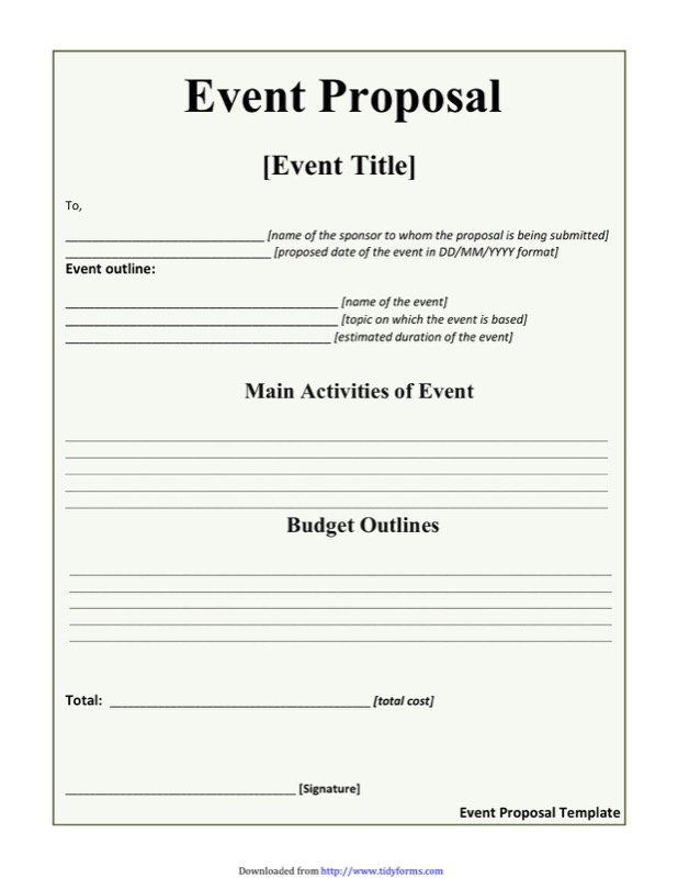 Event Proposal Template  Free Templates In Doc Ppt Pdf  Xls