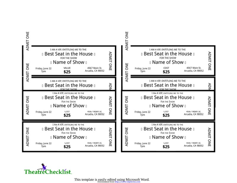 Ticket Template  Free Templates In Doc Ppt Pdf  Xls