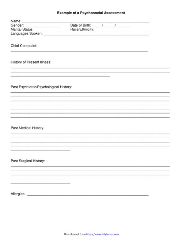 Psychosocial Assessment Form Templates  Free Templates In Doc Ppt