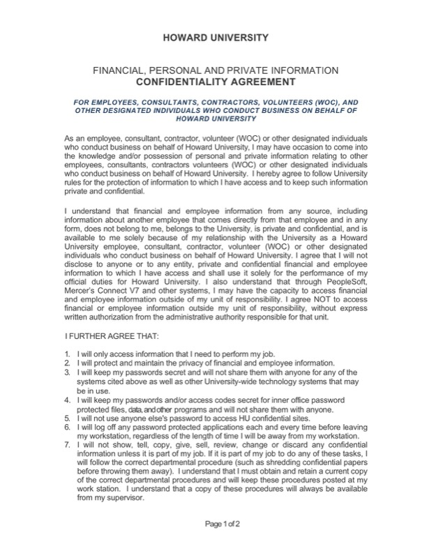Download Strategic Human Resources Confidentiality Agreement Example