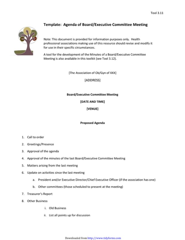 Executive Meeting Agenda Template  Agenda Template Meeting