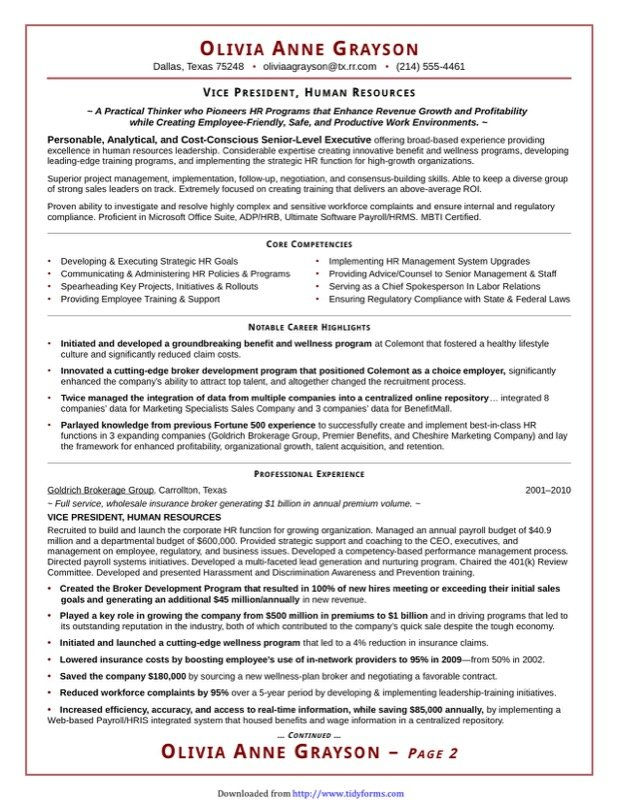 Executive Resume Template - Free Templates in DOC, PPT, PDF & XLS