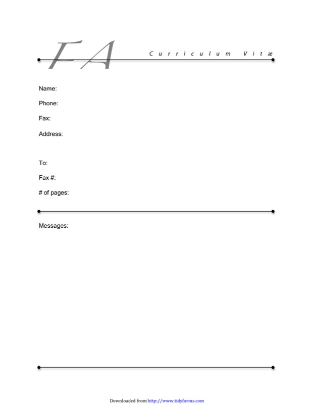 Fax Cover Sheet For CV