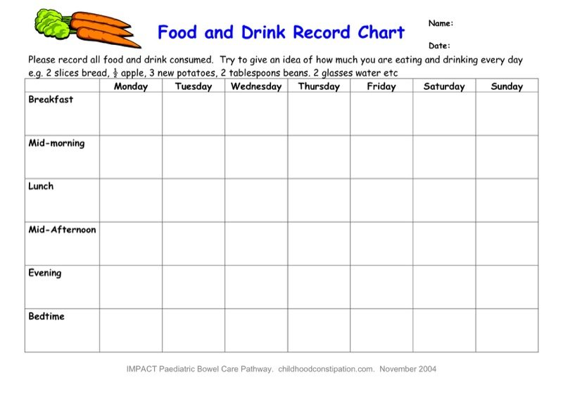 Food And Drink Record Chart  Food Log Templates