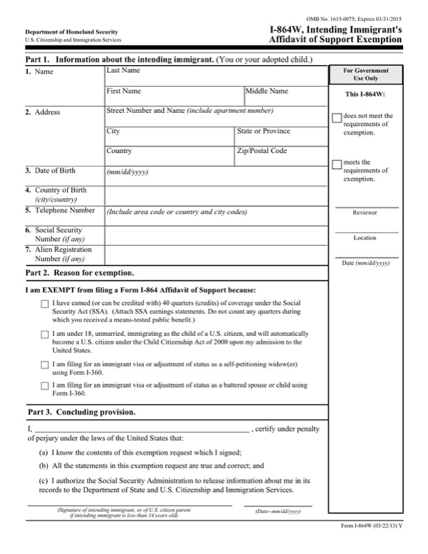 Form I-864W, Intending Immigrant's Affidavit of Support Exemption