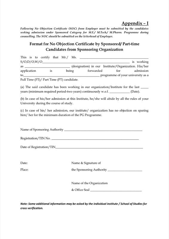 Format For No Objection Certificate  Noc Certificate Format In Pdf