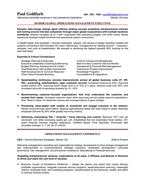 Free Ceo Resume Templates  Ceo Resume Template