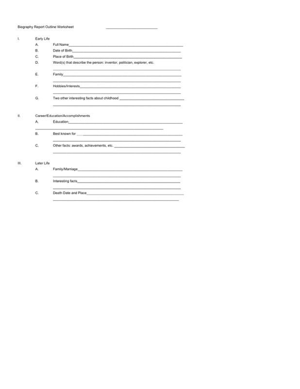 Biography Outline Template  Free Templates In Doc Ppt Pdf  Xls