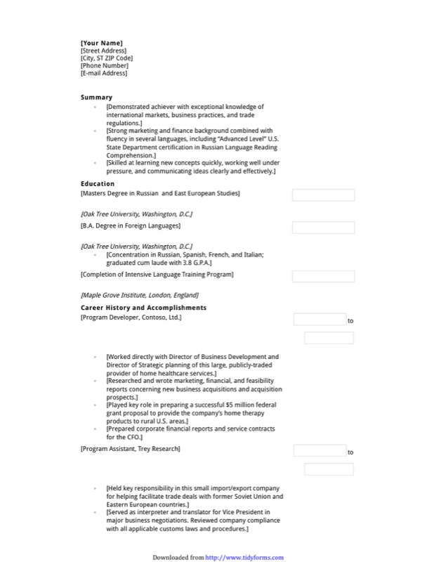 Functional Resume With Education Emphasis  Functional Resume Template Free