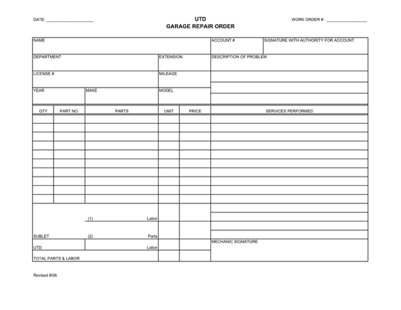 Work Order Template  Free Templates In Doc Ppt Pdf  Xls