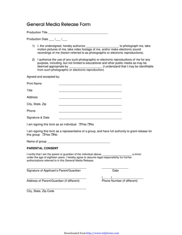 Delightful General Media Release Form 1