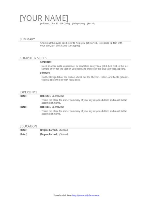 General Resume Template 1  General Resume Templates