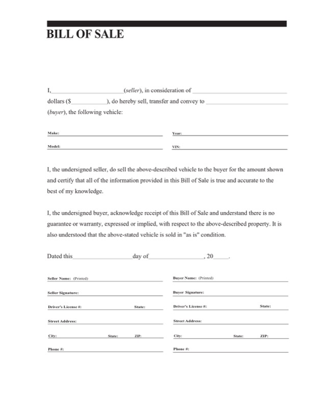 General Bill Of Sale Form Templates  Free Templates In Doc Ppt