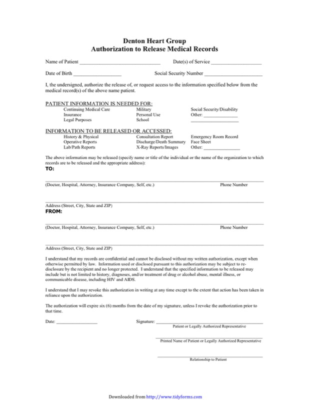 Generic Medical Records Release Form Templates  Free Templates In