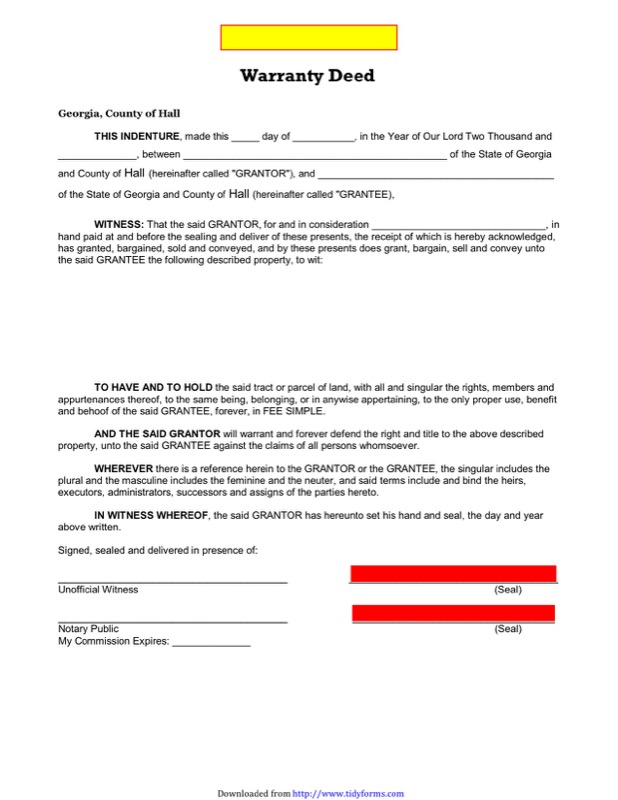 Georgia Warranty Deed Form  Free Templates In Doc Ppt Pdf  Xls
