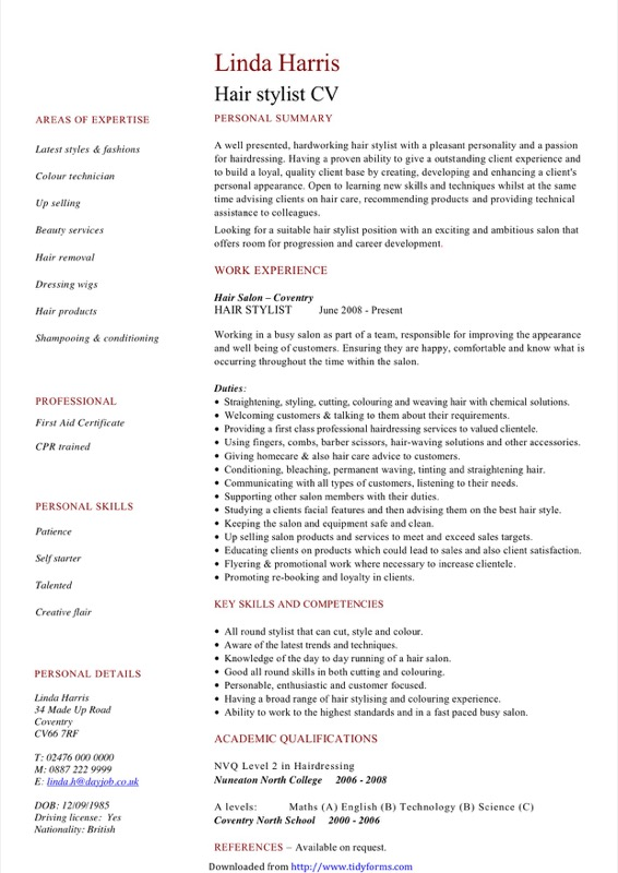 Hair Stylist Cv Sample