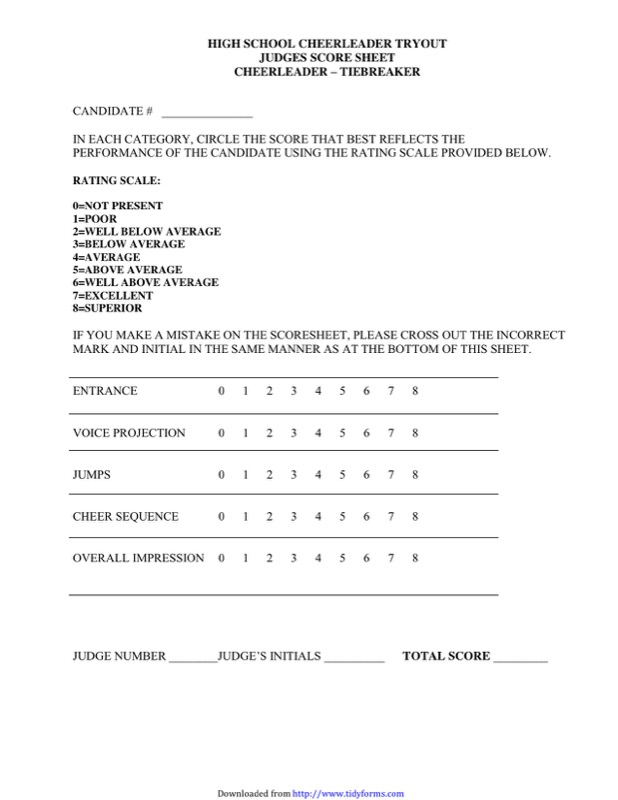 Cheerleading Tryout Score Sheet Templates  Free Templates In Doc