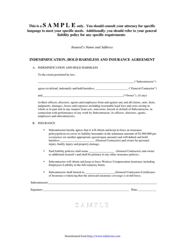 Hold Harmless Agreement Templates  Free Templates In Doc Ppt Pdf