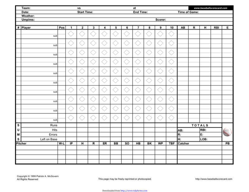 Baseball score sheet templates free templates in doc ppt pdf xls horizontal scorecard pronofoot35fo Choice Image