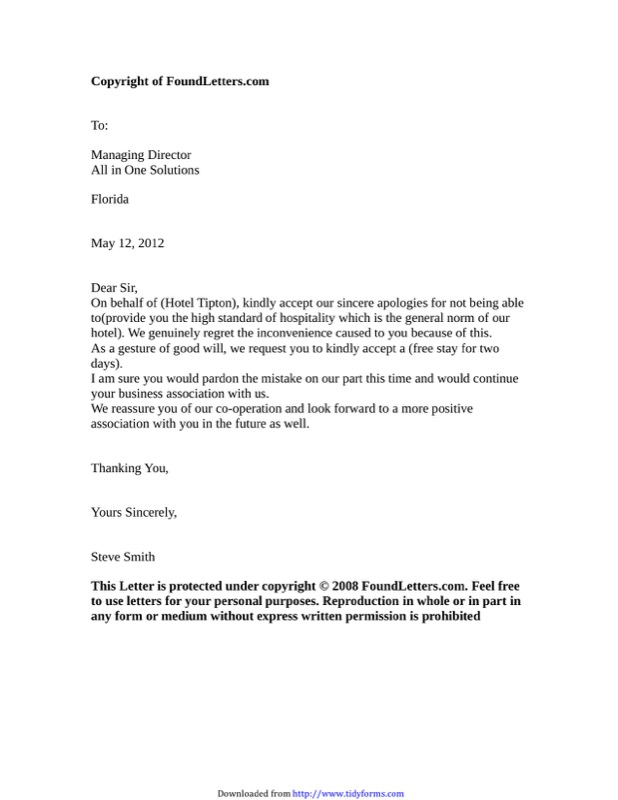 Hotel Apology Letter Templates  Free Templates In Doc Ppt Pdf  Xls