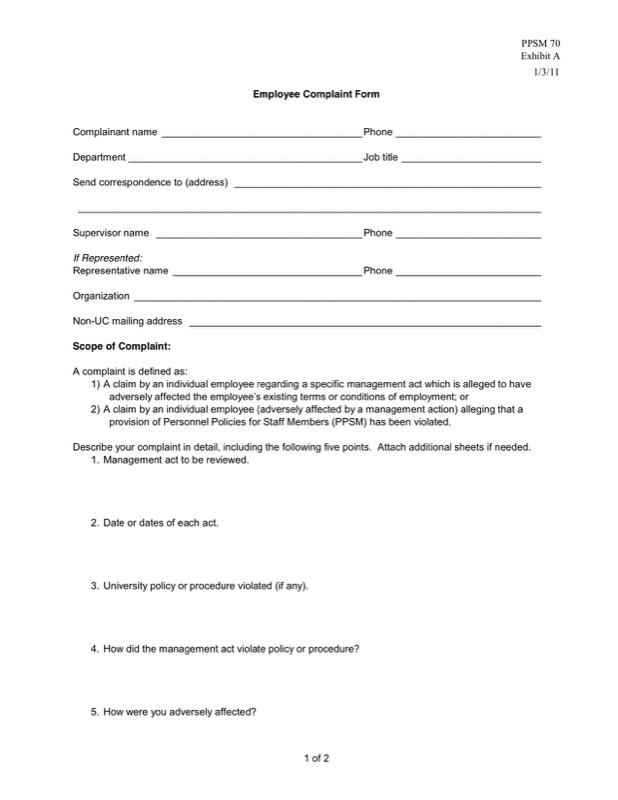 Hr Complaint Forms Templates  Free Templates In Doc Ppt Pdf  Xls