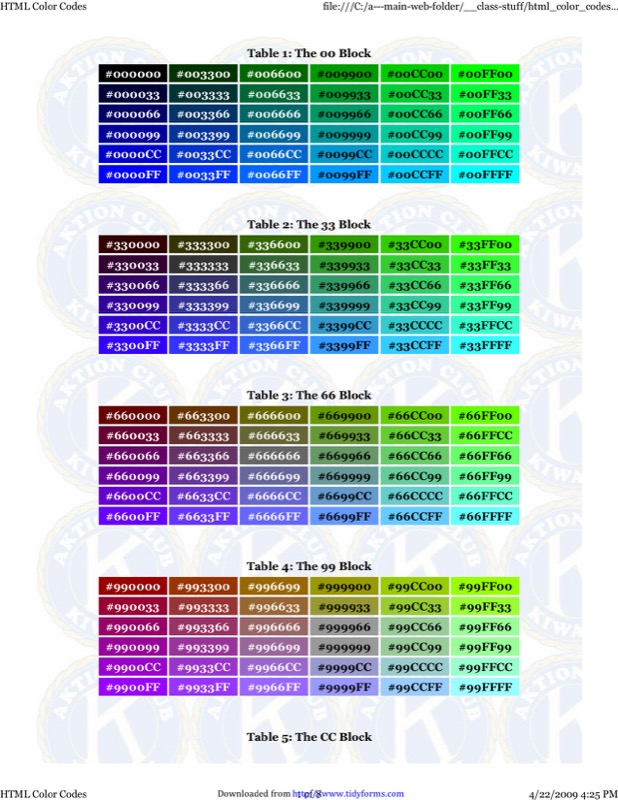 Download Html Color Code Chart For Free  Page   Tidyform