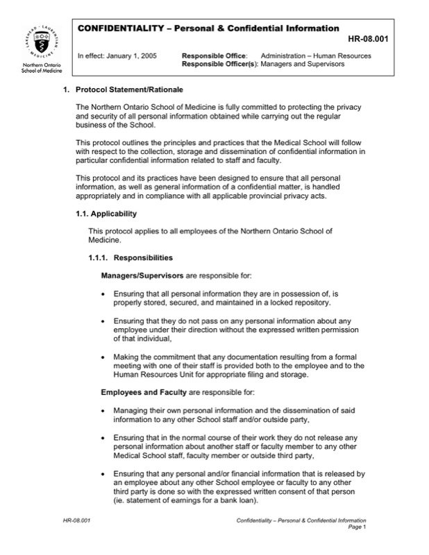 Hr Confidentiality Agreement Template  Resume Ideas  NamanasaCom