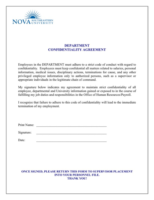 Fine Hr Confidentiality Agreement Template Images  Example Resume