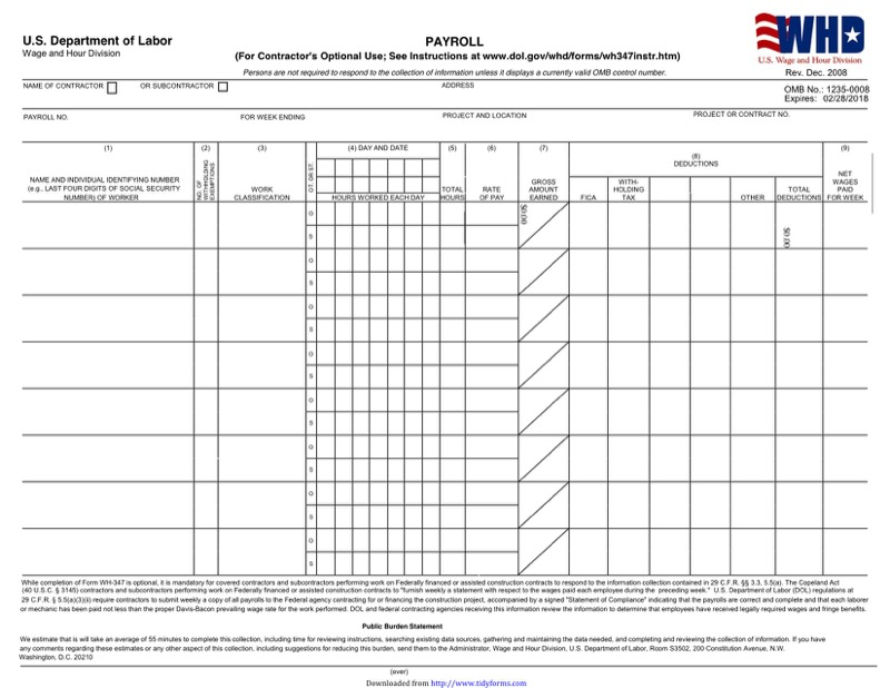 Illinois Certified Payroll Form  Free Templates In Doc Ppt Pdf  Xls