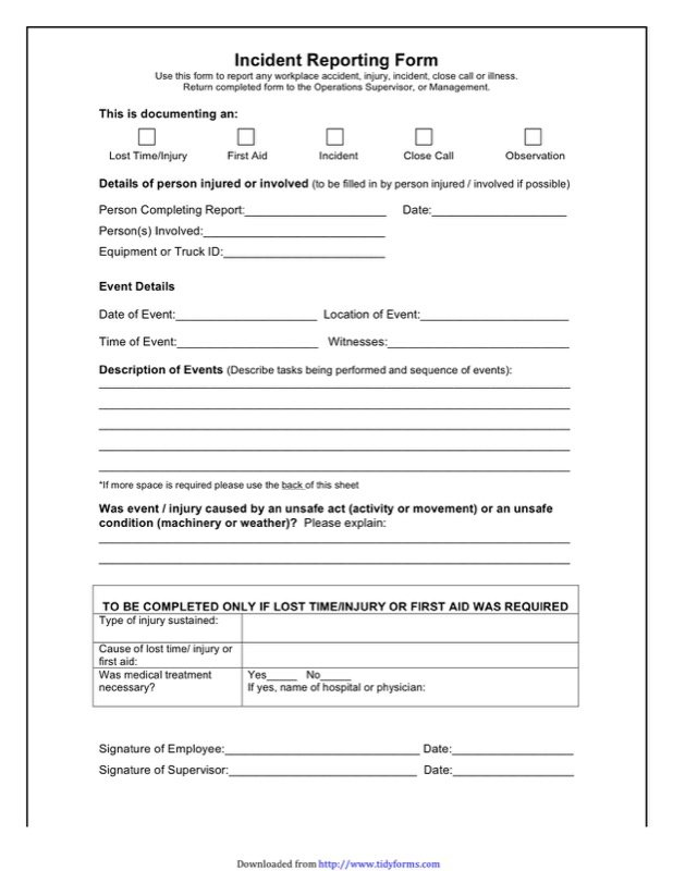 Accident Report Form  Free Printable Incident Reports