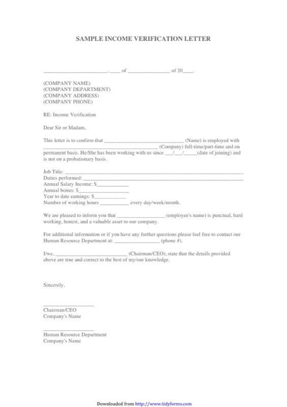 Income Verification Letter Sample Templates  Free Templates In Doc