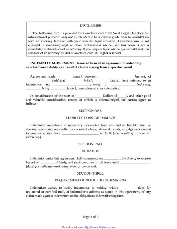 Indemnity Agreement Template  Indemnity Template