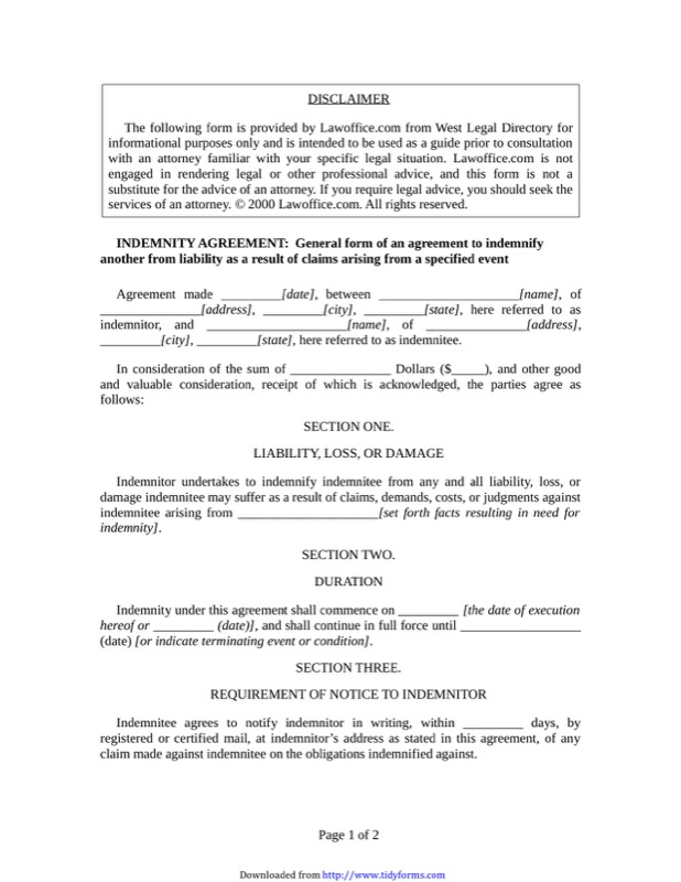 Indemnity Agreement Template  Indemnity Agreement Template