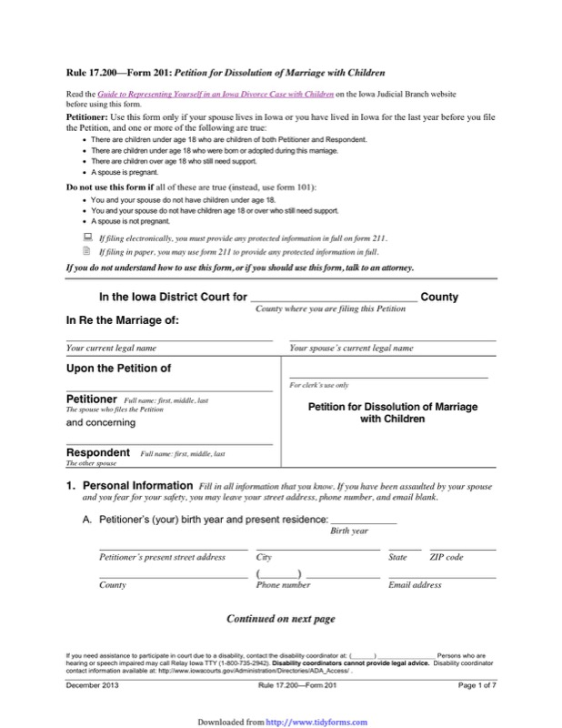 Iowa Divorce Papers  Free Templates In Doc Ppt Pdf  Xls