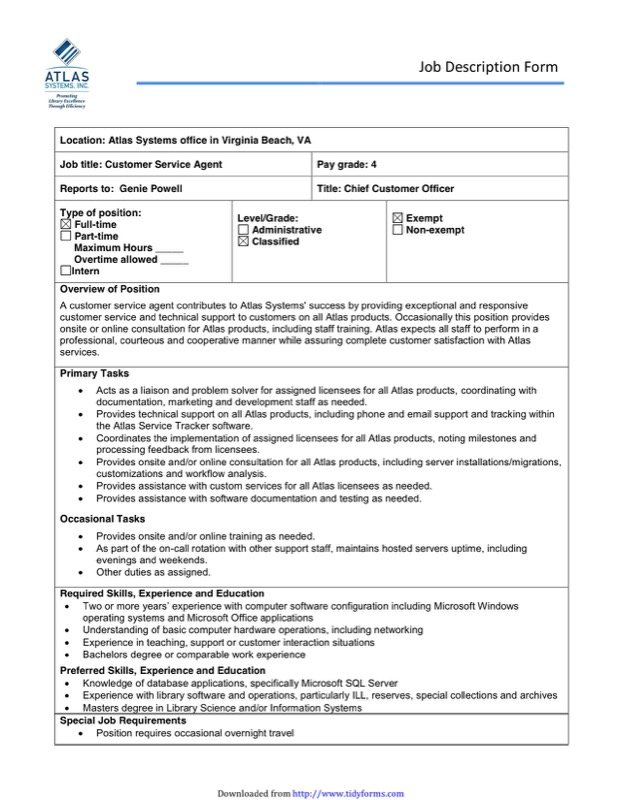 Job Description Template  Free Templates In Doc Ppt Pdf  Xls