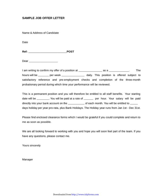 Job Offer Letter Sample Templates Free Templates in DOC PPT PDF