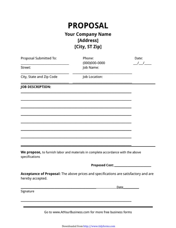 Job Proposal Template  Free Templates In Doc Ppt Pdf  Xls