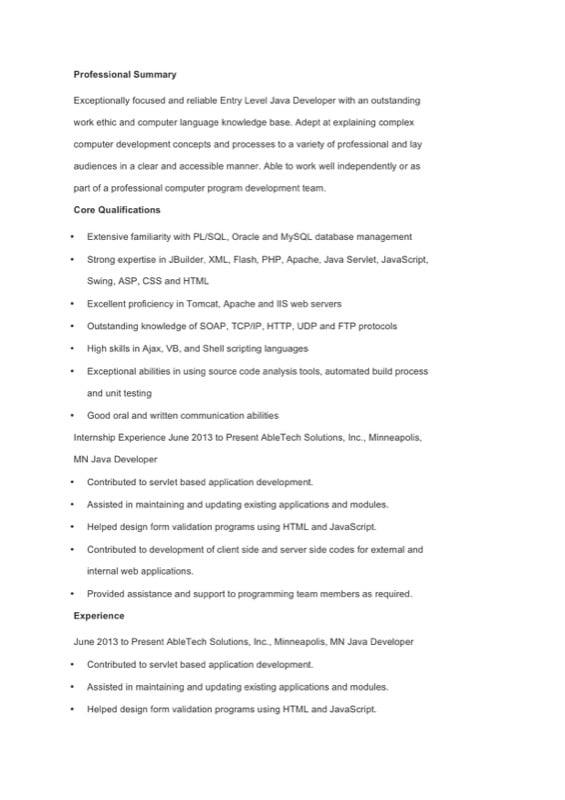 Java Developer Resume Template - Free Templates in DOC, PPT, PDF & XLS