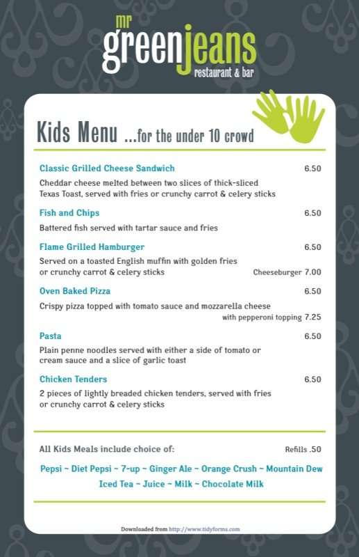 Kids Menu For The Under 10 Crowd  Free Kids Menu Templates