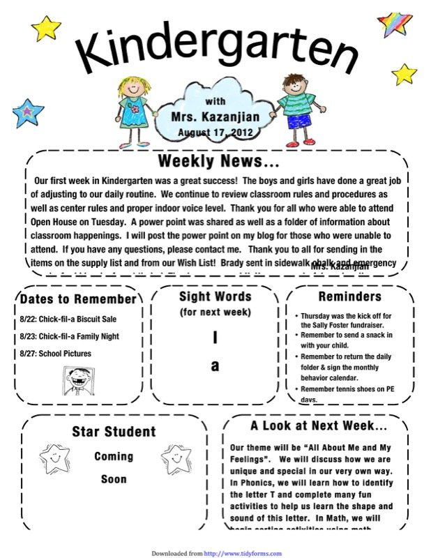 Kindergarten Newsletter Template  Free Templates In Doc Ppt Pdf  Xls