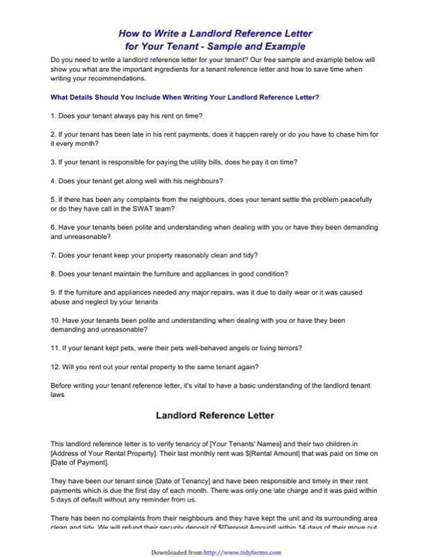Landlord Reference Template  Free Templates In Doc Ppt Pdf  Xls