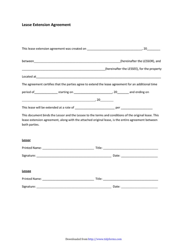 Lease Extension Agreement Templates  Free Templates In Doc Ppt