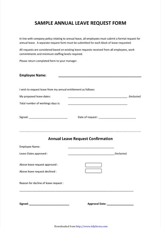 Sample Annual Leave Request Form  Leave Request Sample