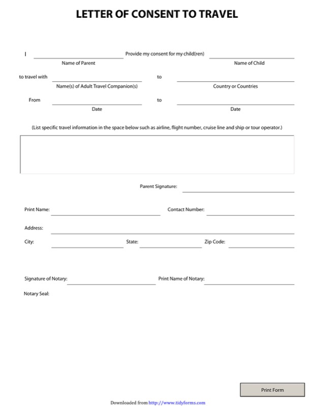 Child Travel Consent Form Templates  Free Templates In Doc Ppt