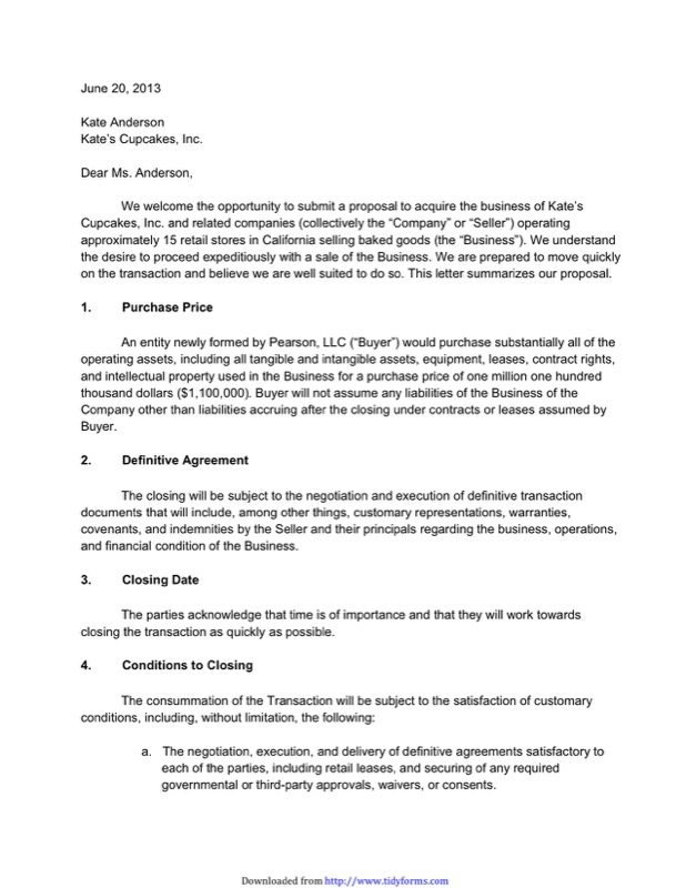 Letter Of Intent For Business  Loi Sample Letter